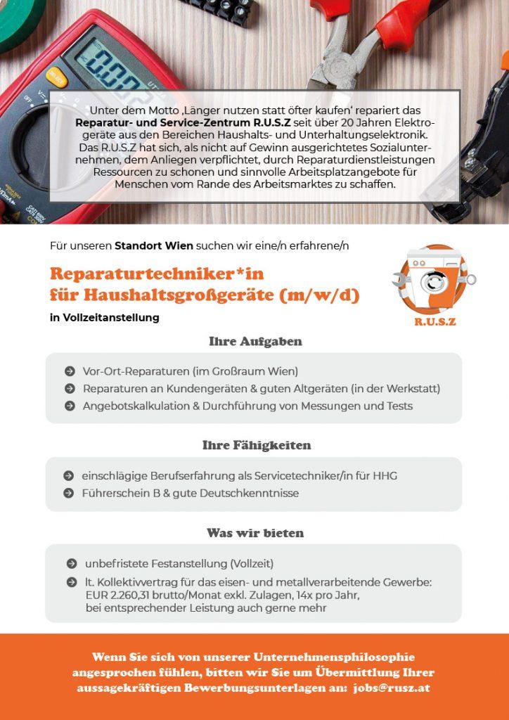 Rusz_Stellenausschreibung_Techniker Wien